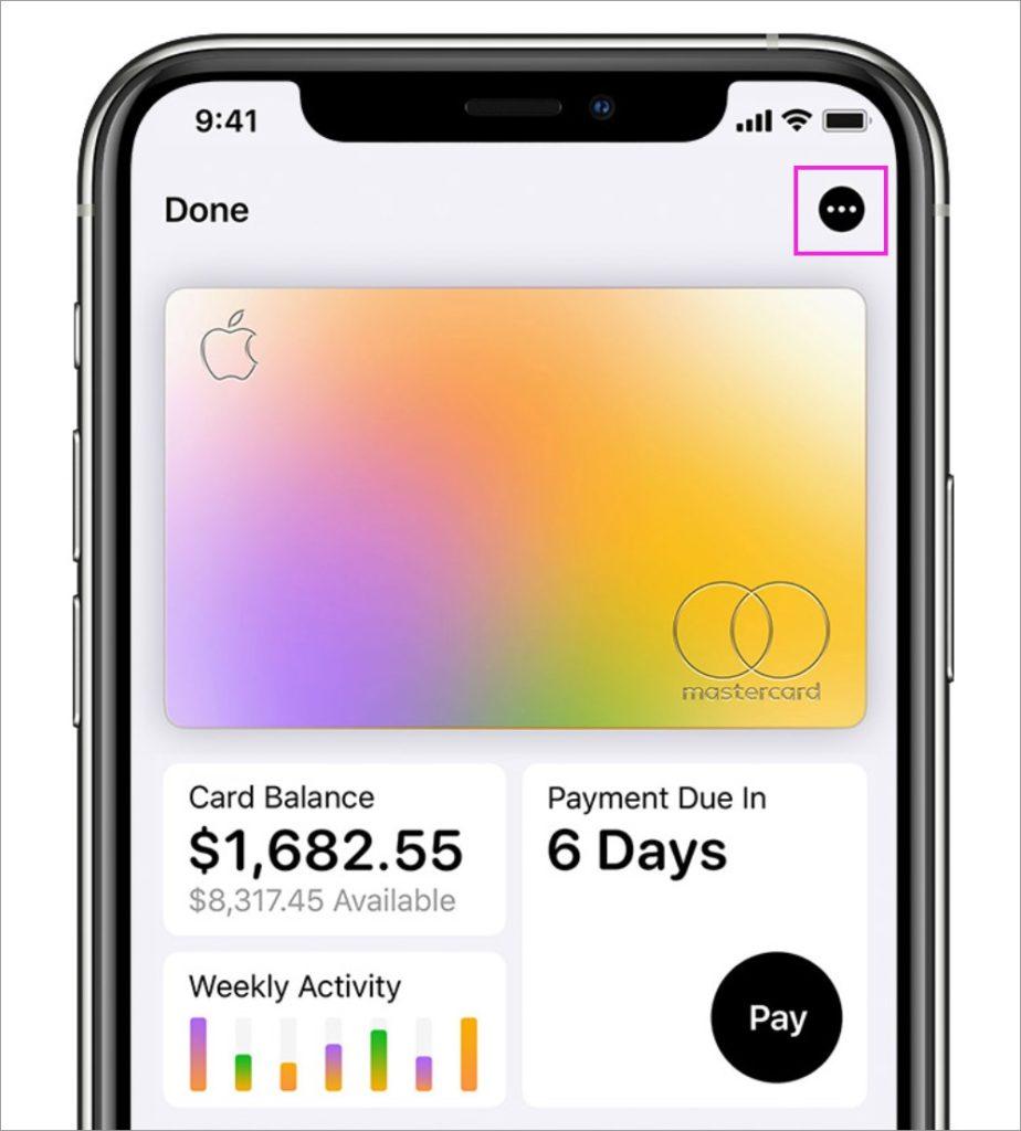 iPhoneのApple Card管理画面