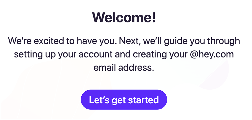 「Hey Email」の登録案内画面