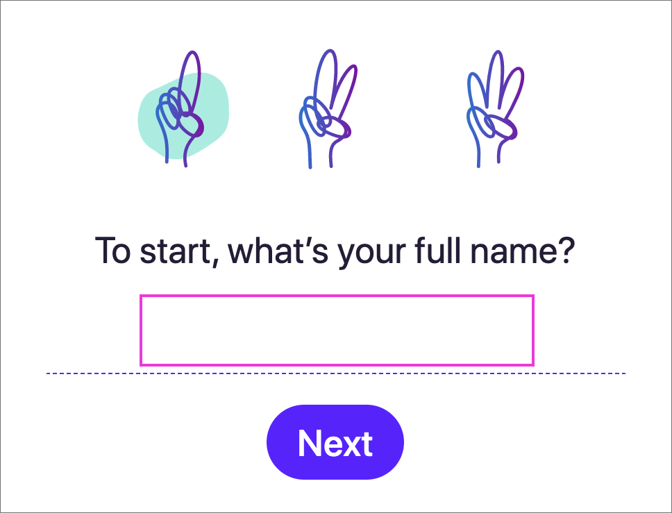 「Hey Email」の名前入力画面