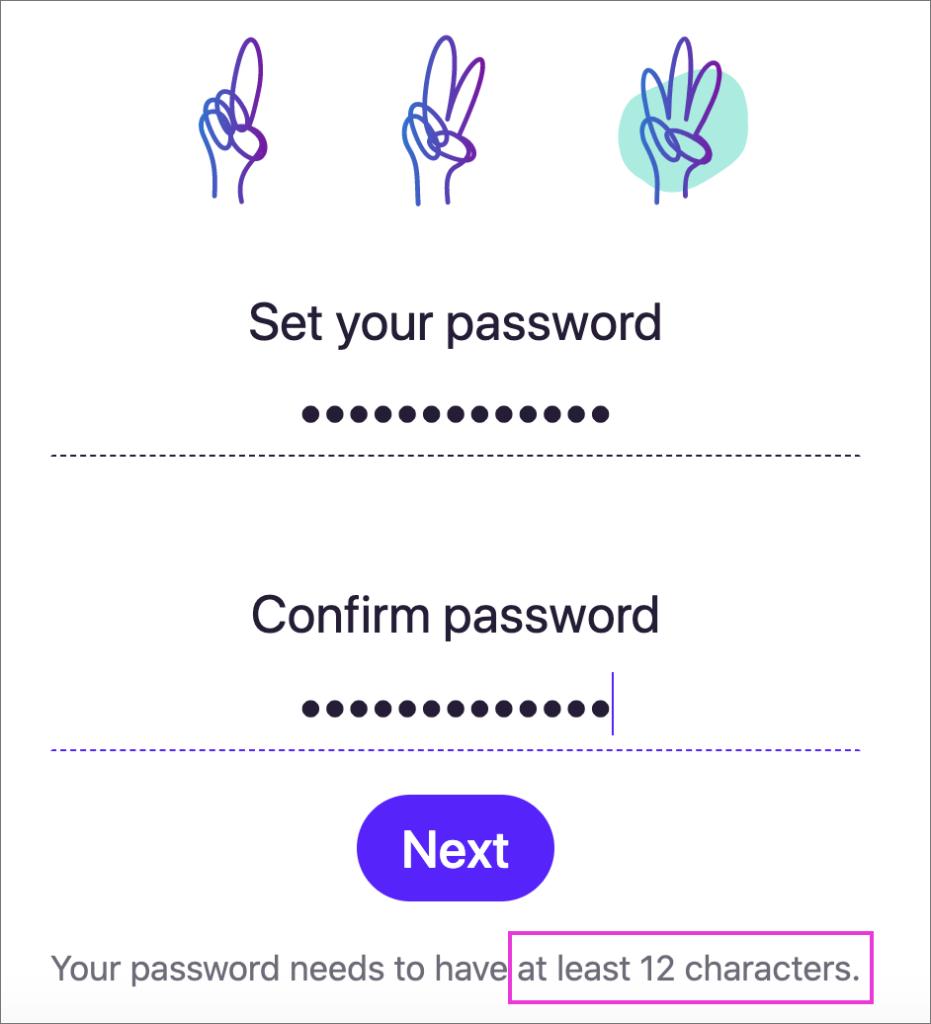 「Hey Email」のパスワード入力画面