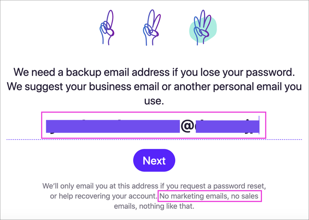 「Hey Email」バックアップ用メールアドレス登録画面