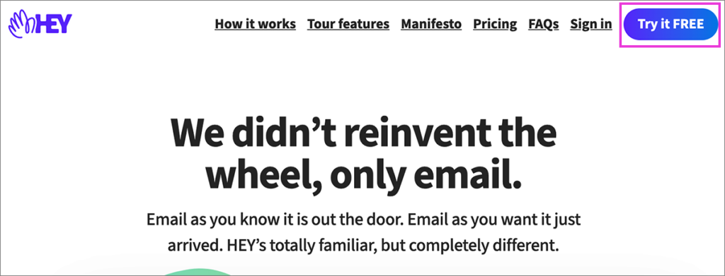 「Hey Email」のトップ画面