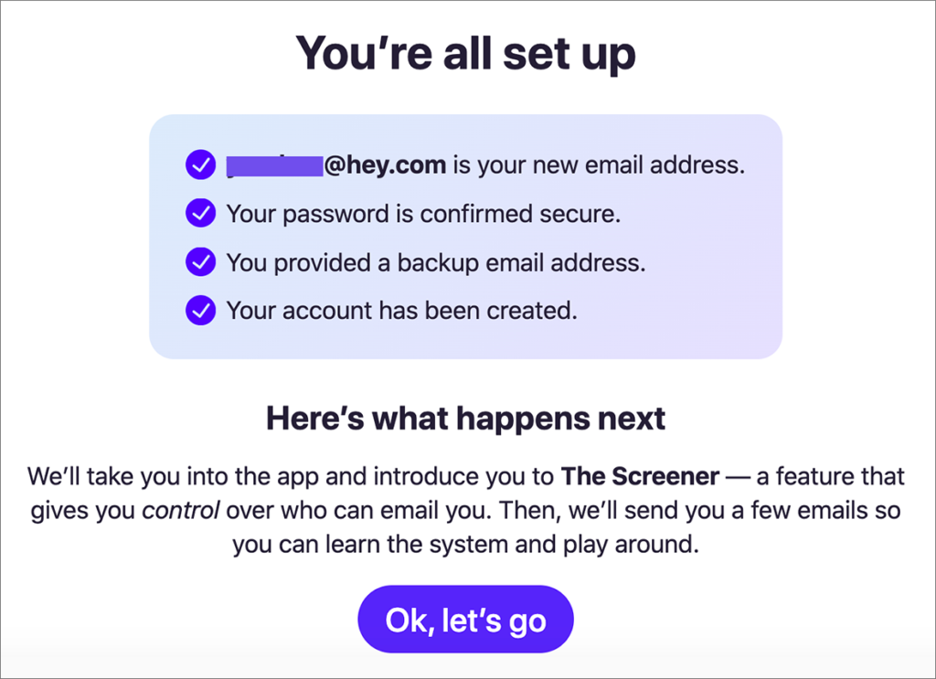「Hey Email」セットアップ済み画面