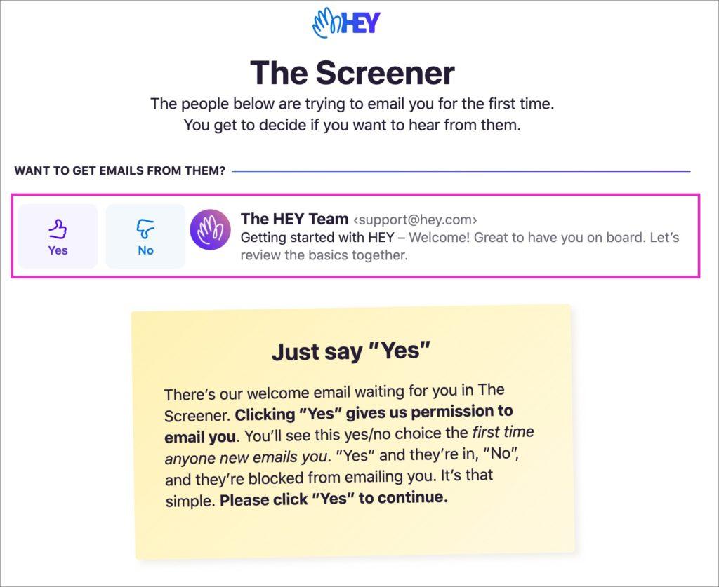 「Screener」の画面