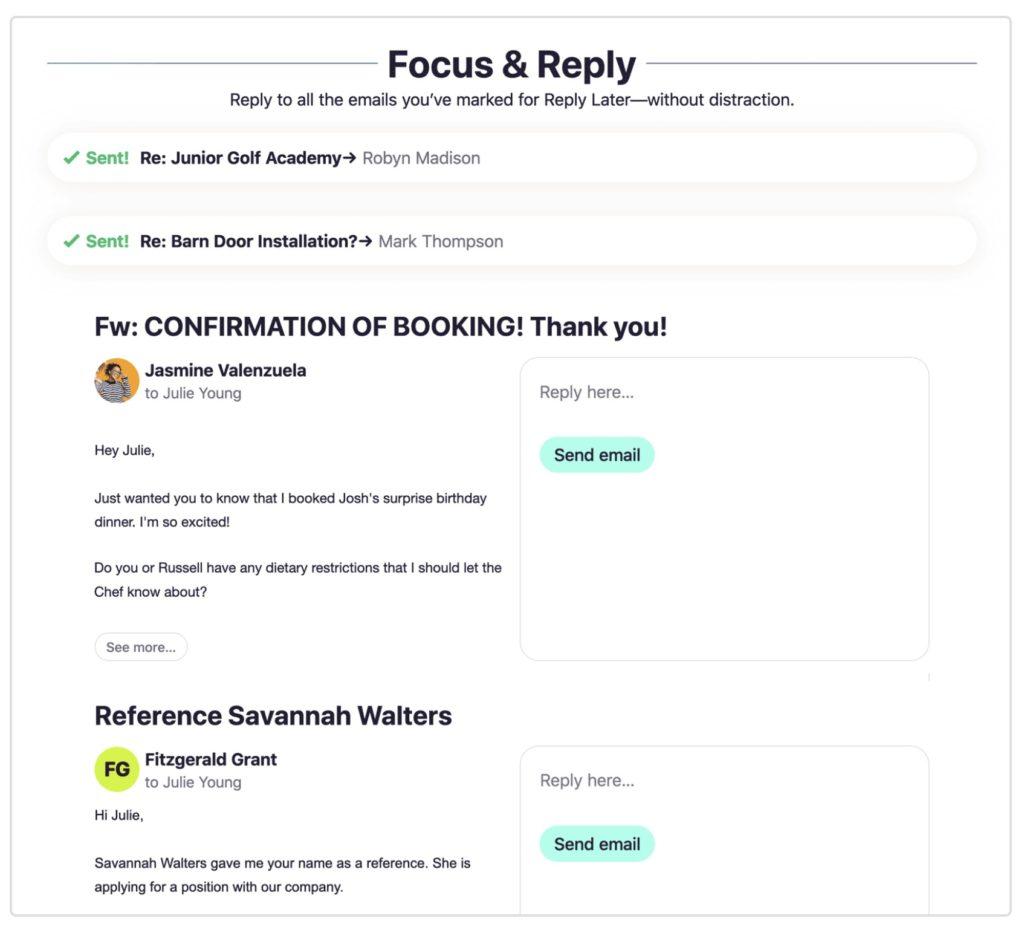 「Focus & Reply」画面