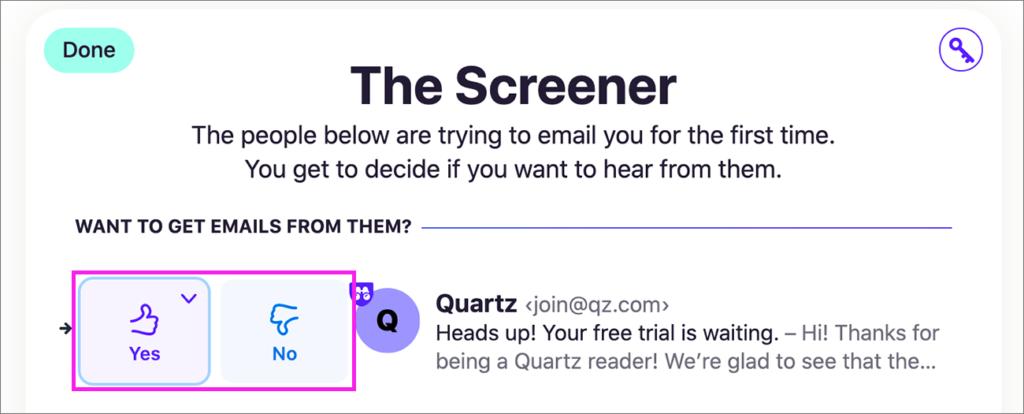 「Screener」の「Yes」「No」ボタン