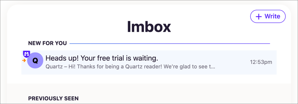 「Imbox」に受信されたメール