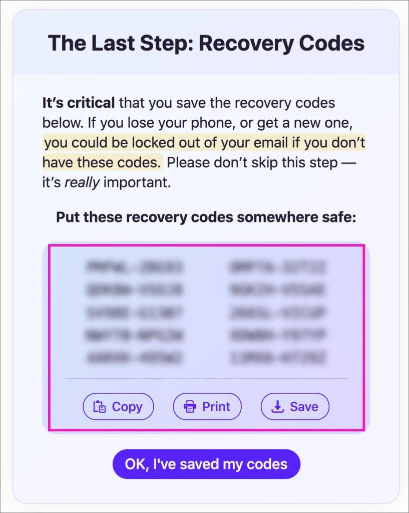 「リカバリーコード」の表示画面
