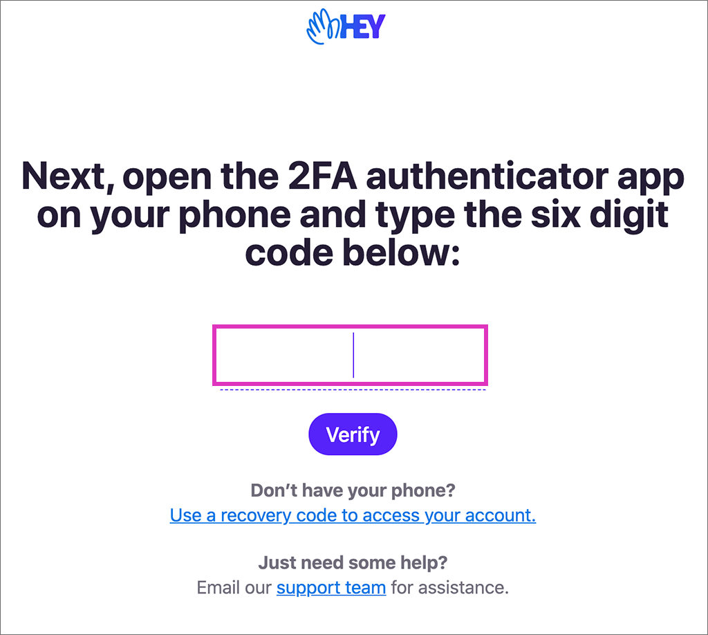 HEYアカウントの2段階認証の画面