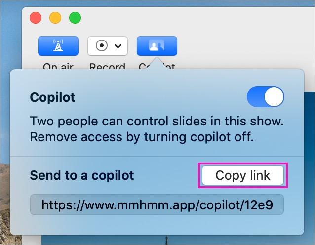 「mmhmm」の「Copilot」をオンにした状態