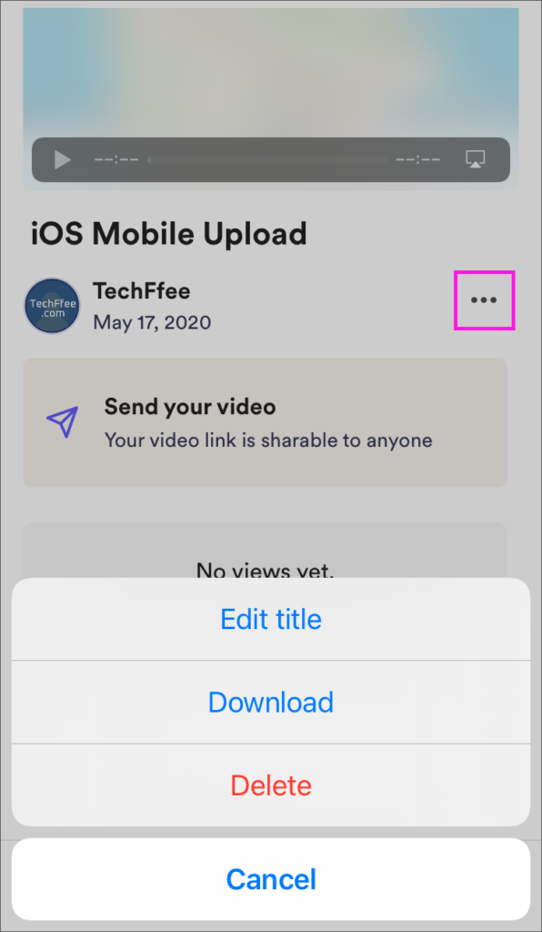 loomのiOSアプリの「My Video」画面